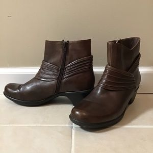 Clarks Brown Leather Heel Ankle Boots